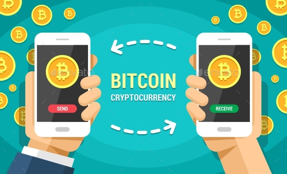 590x358 Two Hands Holding Mobile Phones With Bitcoin Cryptocurrency Vector