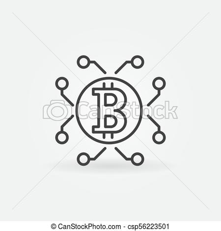 450x470 Bitcoin And Cryptocurrency Vector Outline Icon Or Symbol. Bitcoin