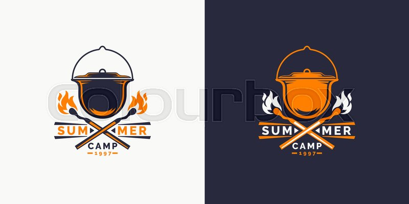 800x400 Camping And Outdoor Adventure Retro Logo. The Emblem For Cub