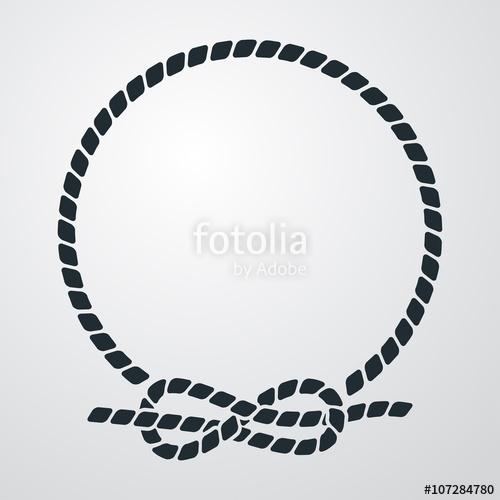 500x500 Icono Plano Circulo De Cuerda Con Nudo En Fondo Degradado Stock