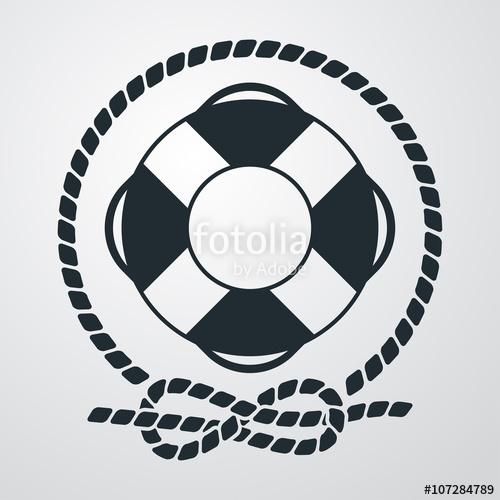 500x500 Icono Plano Salvavidas Con Circulo De Cuerda En Fondo Degradado