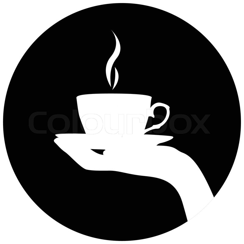 800x800 Silhouette Of Hand With Cup Of Coffeetea Stock Vector Colourbox