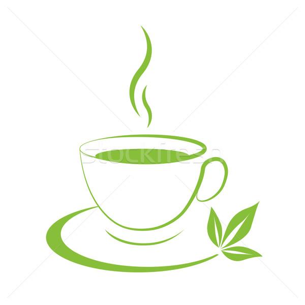 600x600 Tea Cup Icon Green Vector Illustration Aleksandr Kalugin