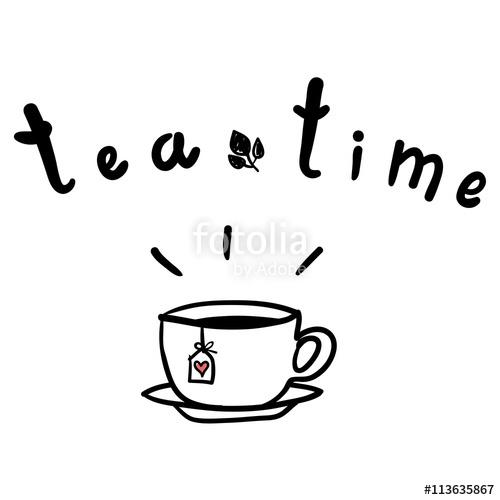 500x500 Tea Time Poster. Cup Of Hot Tea Vector Illustration. Doodles