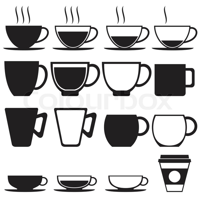 800x800 Coffee And Tea Cup Icon Set, Vector Format Stock Vector Colourbox
