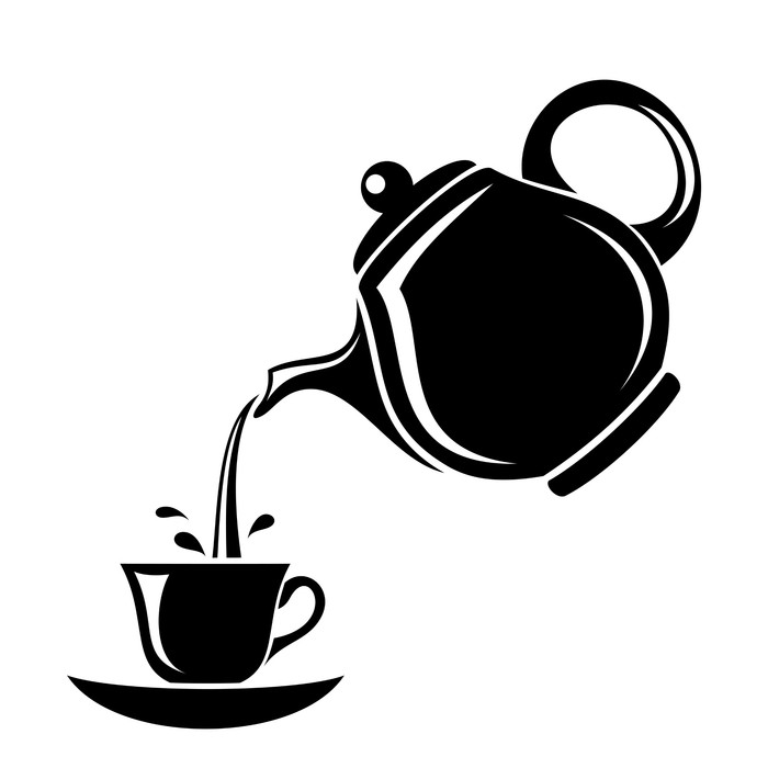 700x700 Black Silhouette Of Teapot And Cup. Vector Illustration. Wall