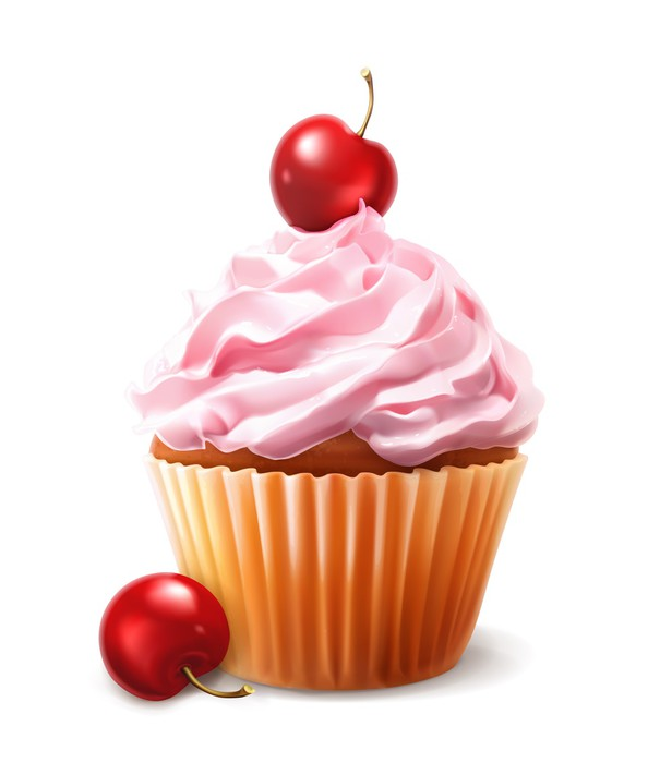 605x700 Cherry Cupcake, Vector Wall Mural We Live To Change