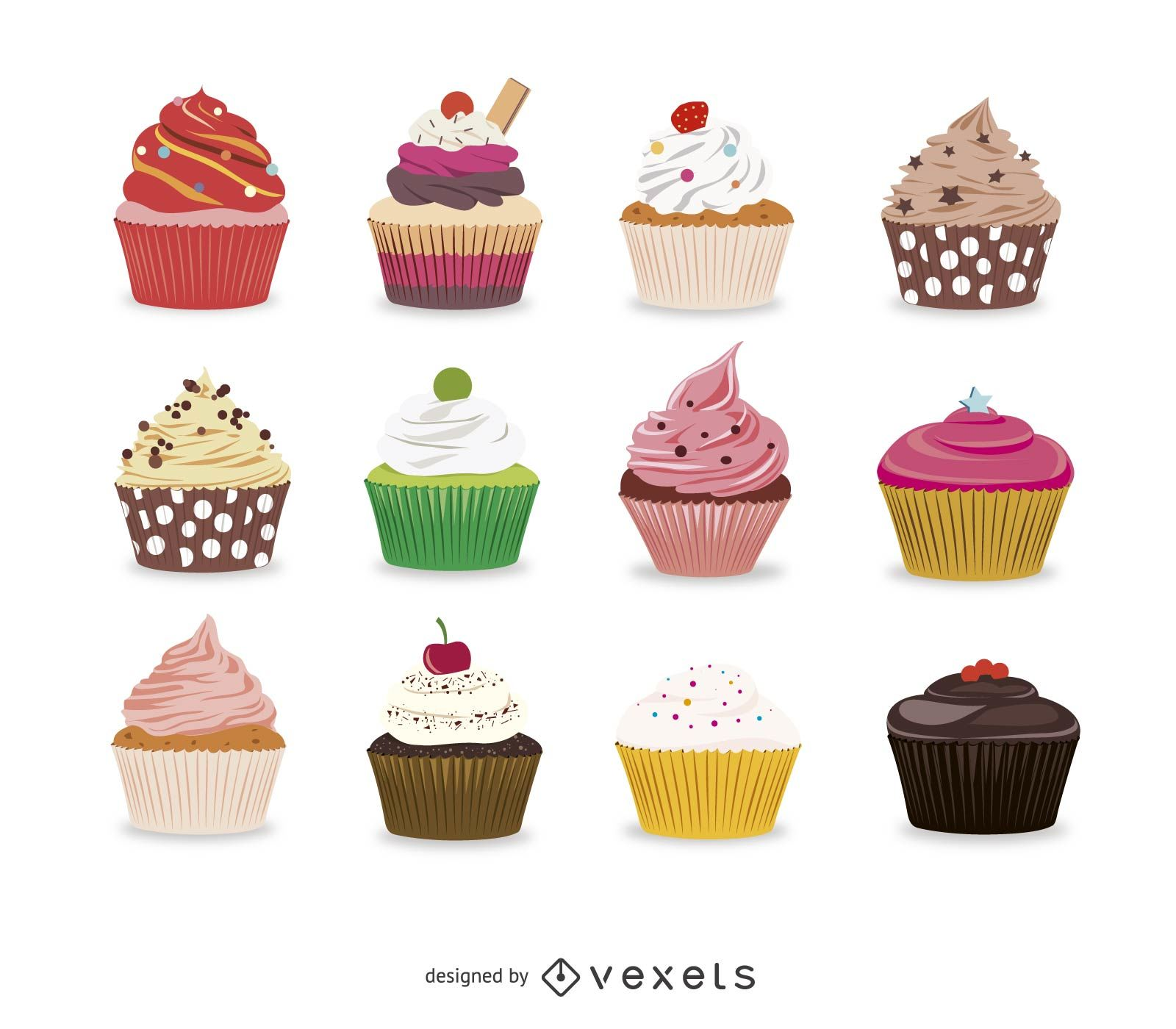 1600x1400 Collection Of Illustrated Cupcakes