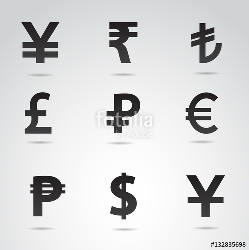 498x500 Currency Symbols Vector Icon Set. Stock Image And Royalty Free