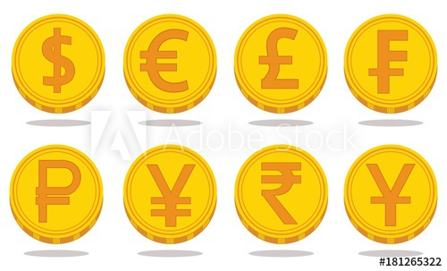 500x303 Collection Of Icons With Currency Symbols. Vector Illustration