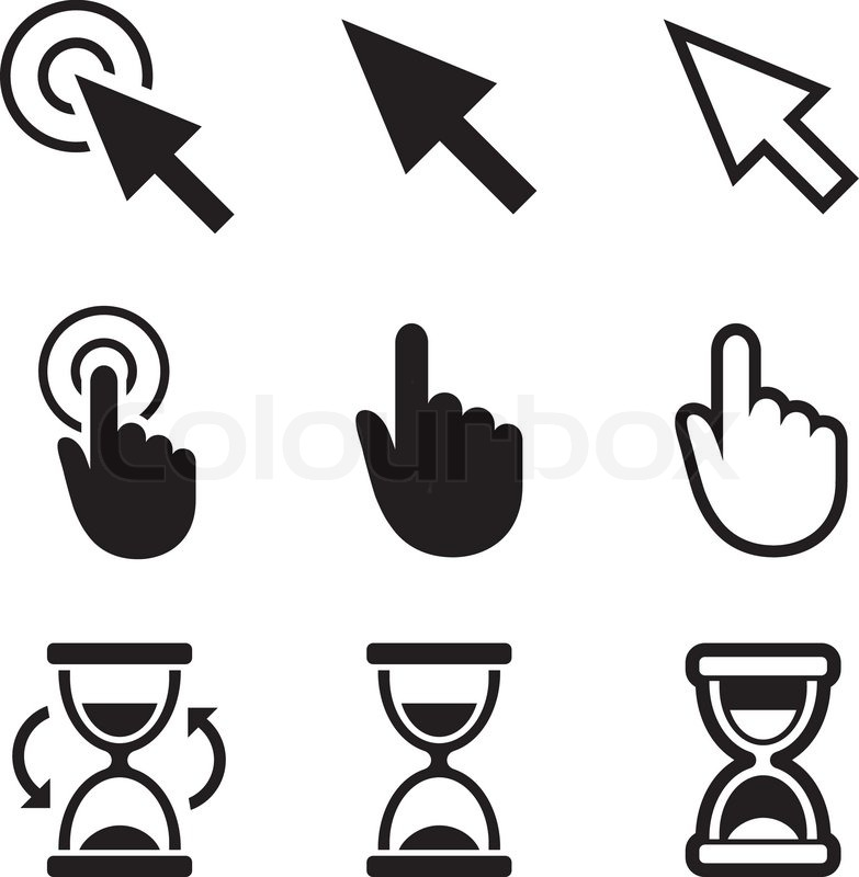 783x800 Cursor Pointer Icons. Mouse, Hand, Arrow, Hourglass. Click, Press