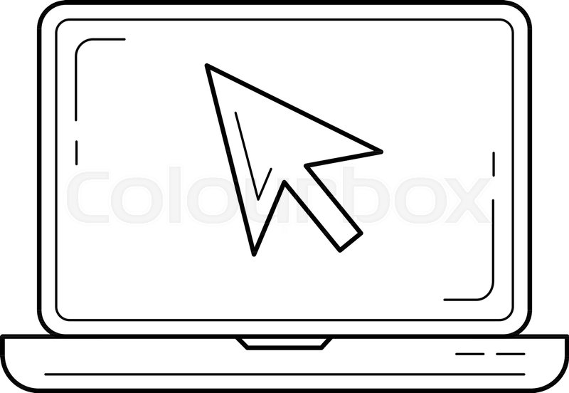 800x552 Laptop Cursor Vector Line Icon Isolated On White Background
