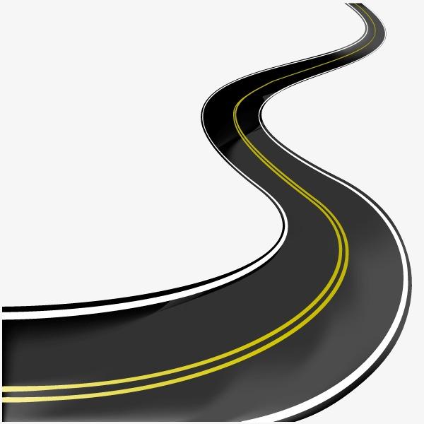 600x600 Curved Asphalt Road Vector Material, Road Vector, Asphalt Road