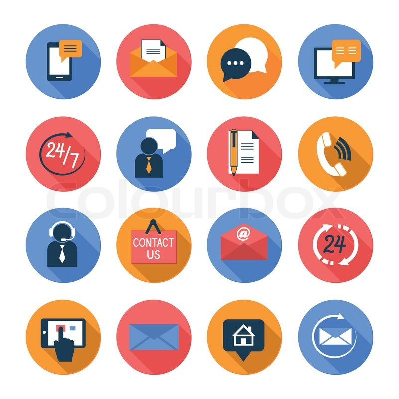 800x800 Customer Care Contacts Flat Icons Set Of Online And Offline