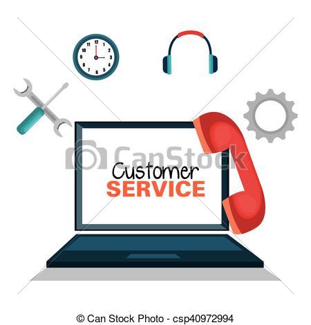 450x470 Customer Service Online Icon Vector Illustration Design.
