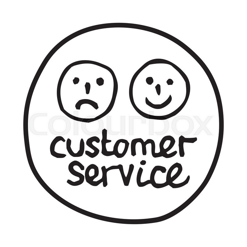 800x800 Doodle Customer Service Icon. Infographic Symbol In A Circle. Line