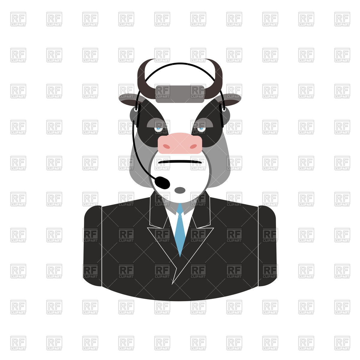 1200x1200 Farm Call Center, Cow With Headset, Customer Service Icon Vector