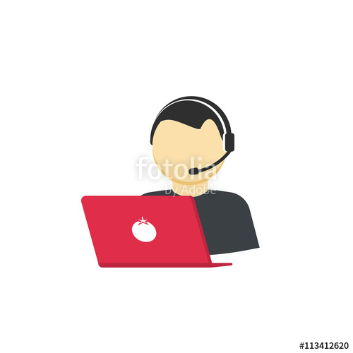 500x500 Customer Support Vector Icon Isolated On White, Flat Cartoon
