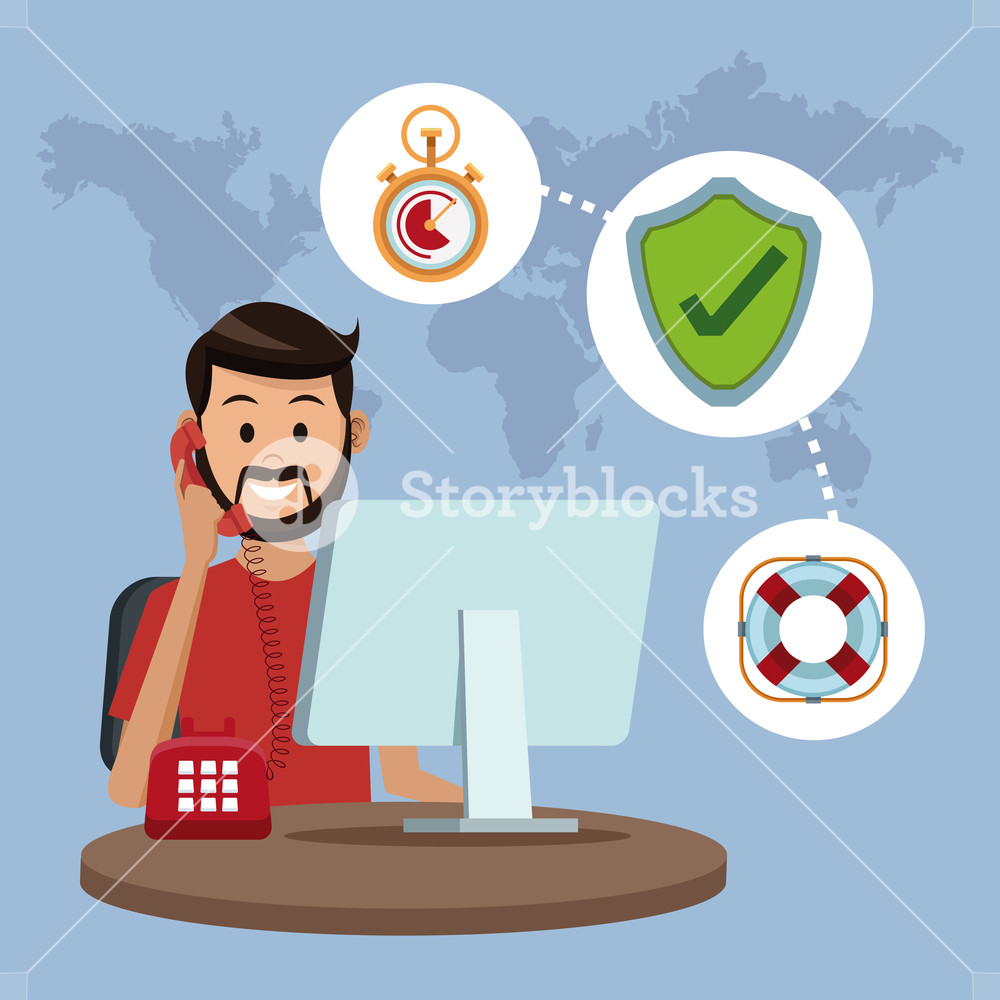1000x1000 User Calling To Customer Service Vector Illustration Graphic
