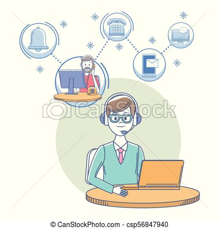 450x470 Call Center Customer Service. Call Center Man Agent At... Eps