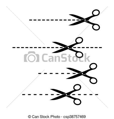 450x470 Cut Here Symbol. Scissors With Cut Lines.