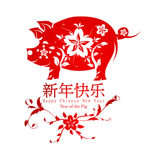 500x500 2019 Chinese New Year Background With Pig Paper Cut Vector Free
