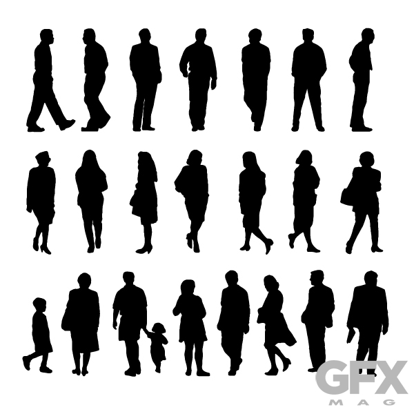 600x600 Free Vector People Silhouette Cut Outs Free Download Vector