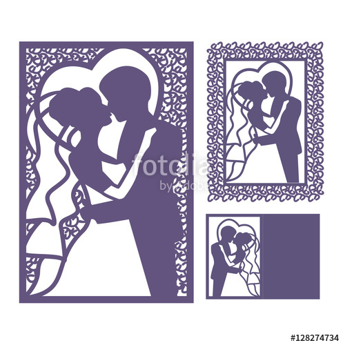 497x500 Bride And Groom Silhouette. Laser Cut Invitation. Vector Postcard