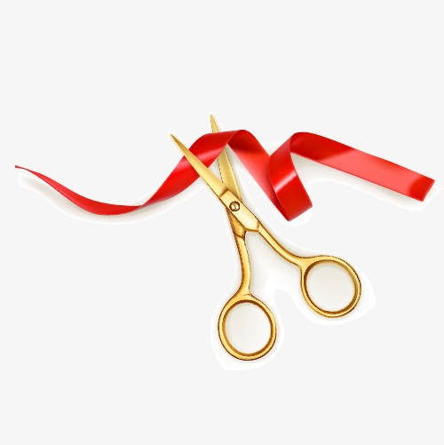 500x501 Vector Ribbon Cutting, Scissors, Colored Ribbon, Cut The Ribbon