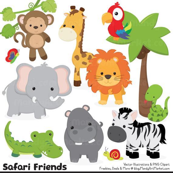 570x570 Cute Jungle Animal Clipart Cute Safari Clipart Jungle Etsy