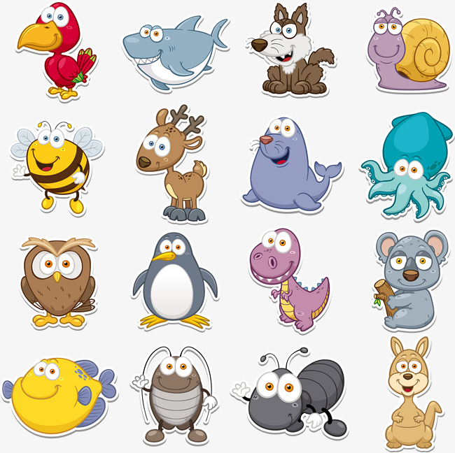 650x648 Q Version Animal Vector Collection, Animal Clipart, Cute Animals