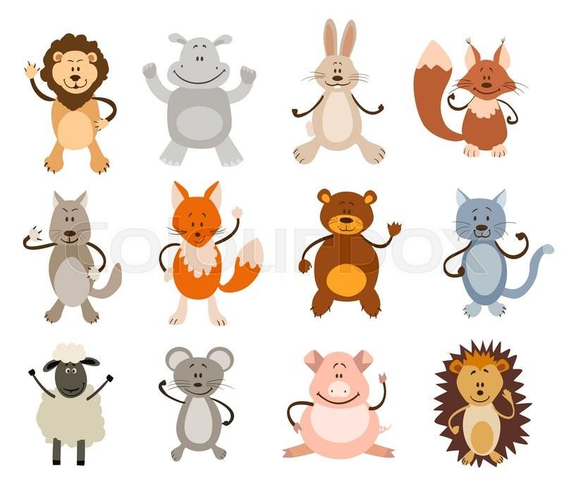 60bd171be2e9 800x698 Set Of Cute Animals. Vector Illustration Stock Vector Colourbox