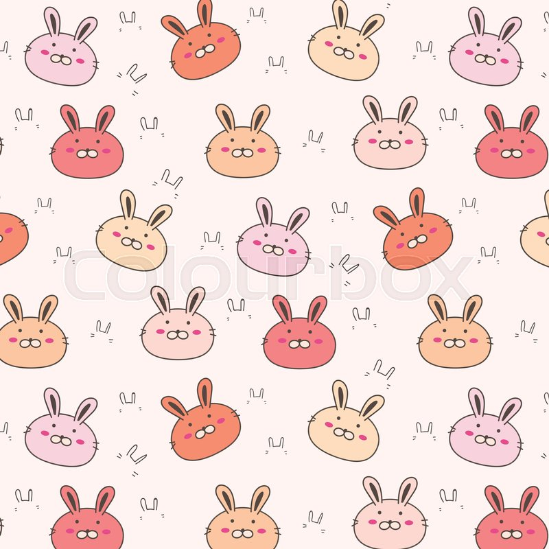 800x800 Cute Bunny Vector Pattern Background. Funny Doodle. Handmade