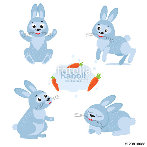 500x500 Cute Bunny Vector Set. Collection Cartoon Rabbit In Different