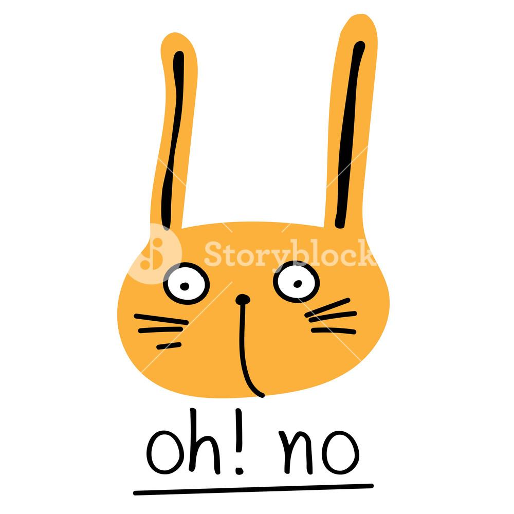 1000x1000 Cute Bunny. Vector Illustration With Orange Rabbit. Royalty Free