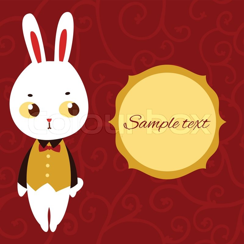 800x800 Cute Bunny Vector Card. Stock Vector Colourbox
