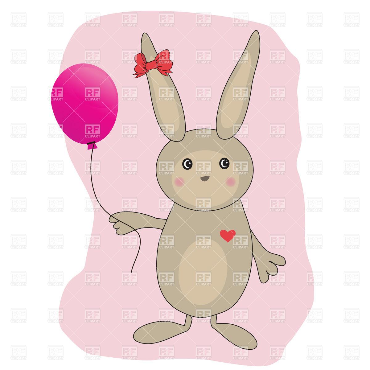 1200x1200 Cute Bunny With Balloon Vector Image Vector Artwork Of Plants