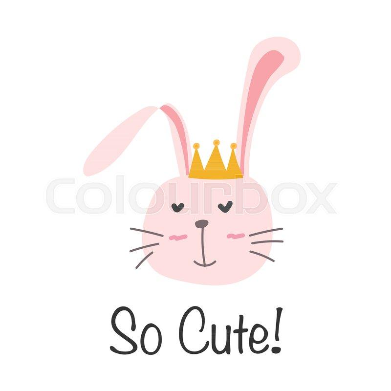 800x800 Little Bunny Princess. Cute Bunny Vector Illustration. Stock