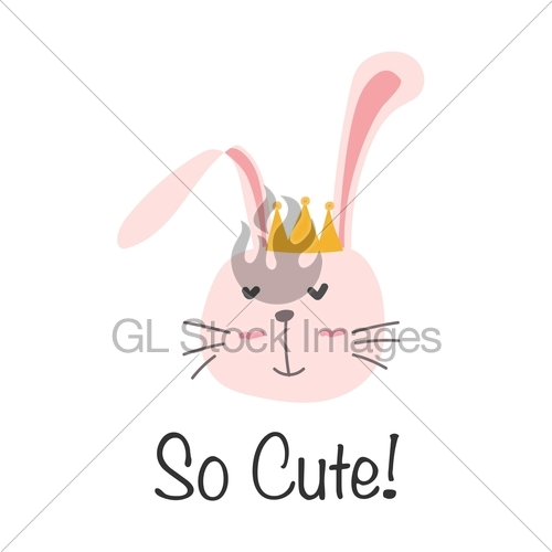 500x500 Little Bunny Princess. Cute Bunny Vector Illustration. Gl Stock