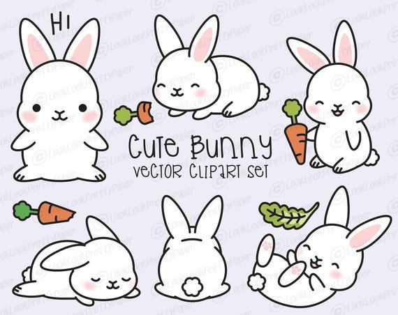 570x452 Premium Vector Clipart Kawaii Bunny Cute Bunny Clipart Set Etsy