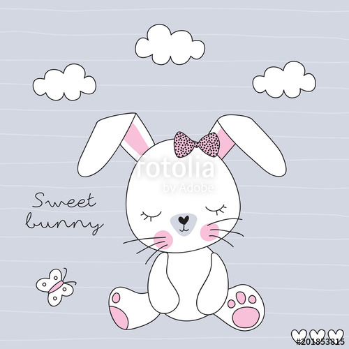500x500 Cute Bunny Rabbit Vector Illustration Stock Image And Royalty