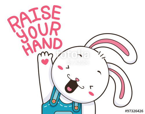 500x396 Cute Bunny Raise Your Hand Stock Image And Royalty Free Vector