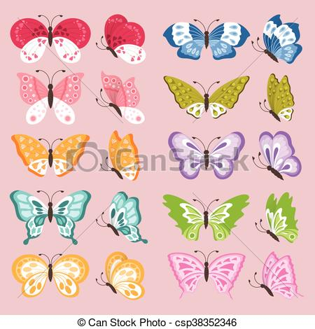 450x470 Colorful Butterflies. Set Of Colorful Cute Butterflies, Vector