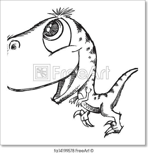 561x581 Free Art Print Of Sketch Doodle Cute Dinosaur. Sketch Doodle Cute