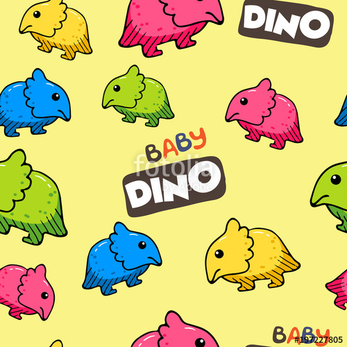500x500 Seamless Pattern With Baby Dino. Cute Dinosaur Vector Illustration