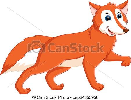 450x345 Cute Fox. Illustration Of Cute Fox Cartoon.