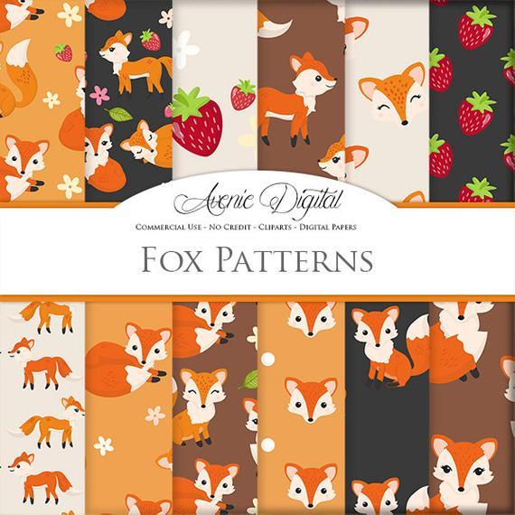 570x570 Cute Fox Vector Pattern. Scrapbook Printables Autumn Digital Etsy