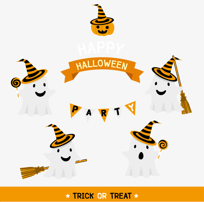 650x643 Happy Halloween Cute White Ghost Element, Halloween Vector, Ghost