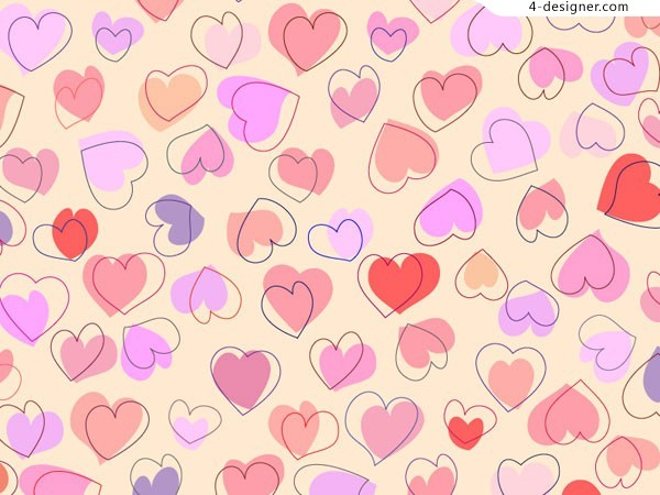 600x450 4 Designer Hand Drawn Style Cute Heart Shaped Background Vector