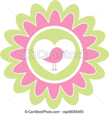 450x470 Cute Heart Bird. Simple Cute Bird With Valentine Love Heart Vector